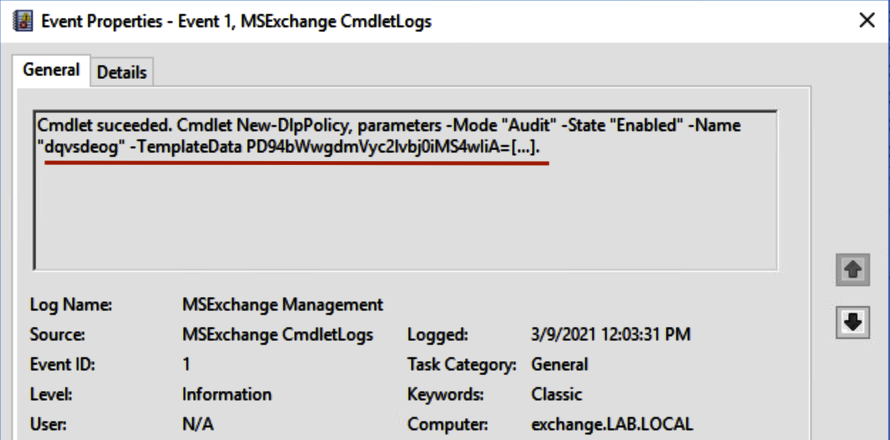 New DLP policy creation event (MSExchange Management log)