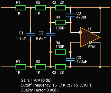 Third Order Multiple Feedback Low-pass Filter with Fully Differential Amplifier