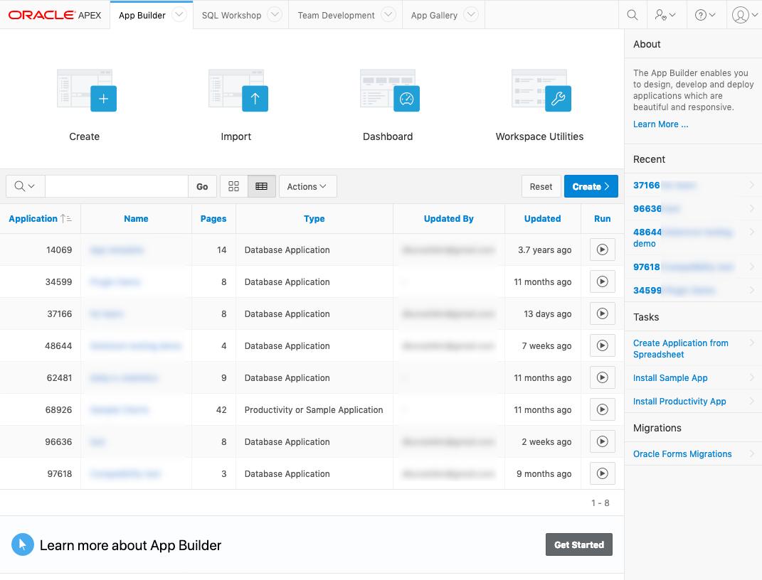 App builder в Oracle APEX