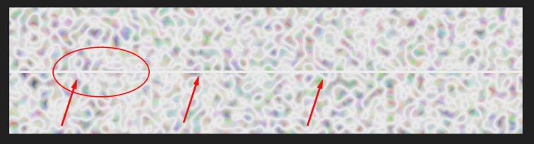 Непрерывность функции, генерирующей случайный шум, можно увидеть по краям двух прямоугольников, используя одно и то же начальное значение