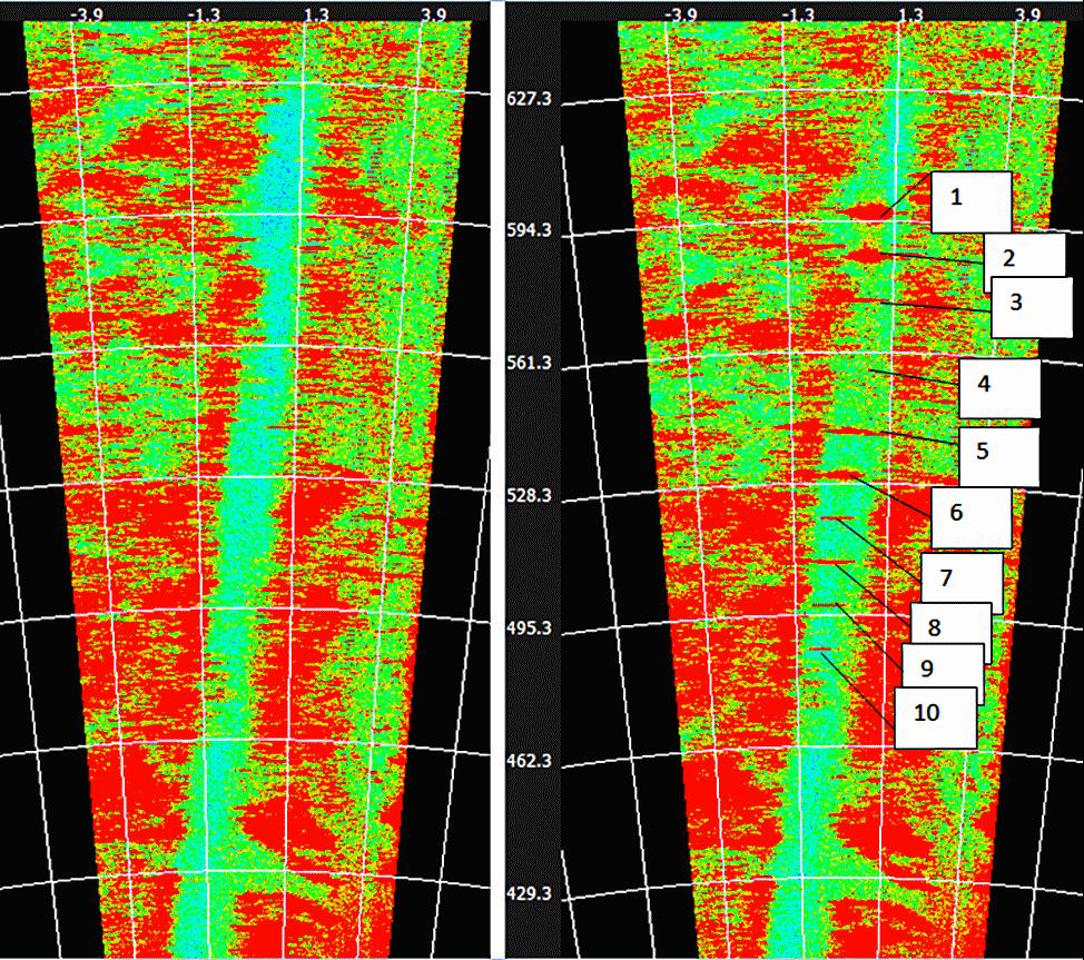 Слева – радарная картина пустой ВПП, справа – ВПП с 10 посторонними предметами