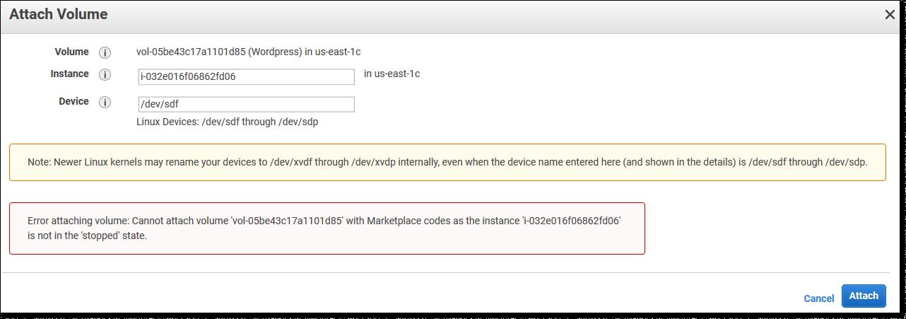 Ошибка при подключении диска с AWS Marketplace кодами