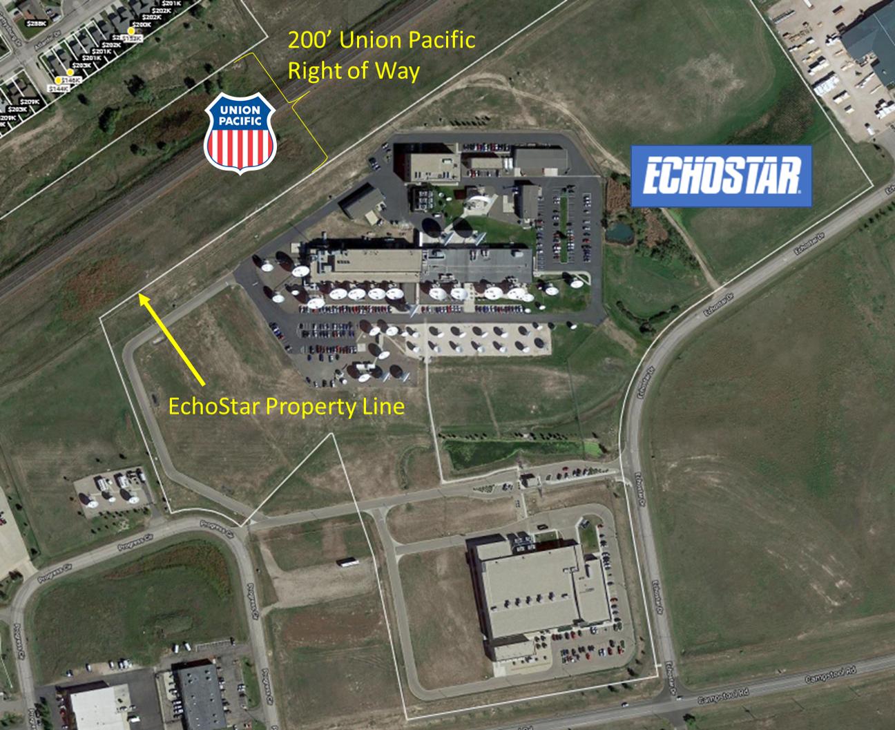 границы владений EchoStar и Union Pacific