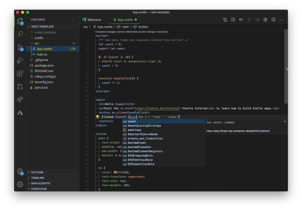 TypeScript + Svelte в VS Code (тема Kary Pro)