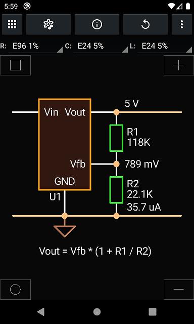 Vout, initial resistors