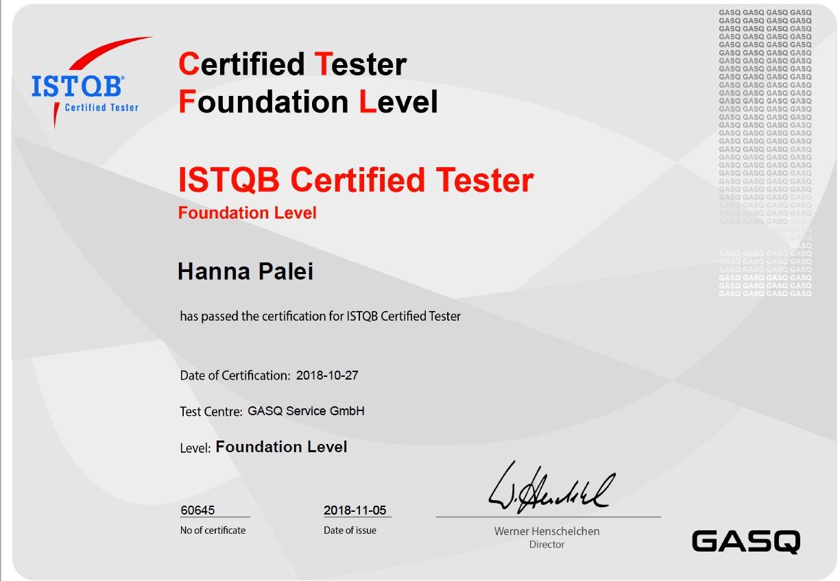 Quality-lab ISTQB sertifcate