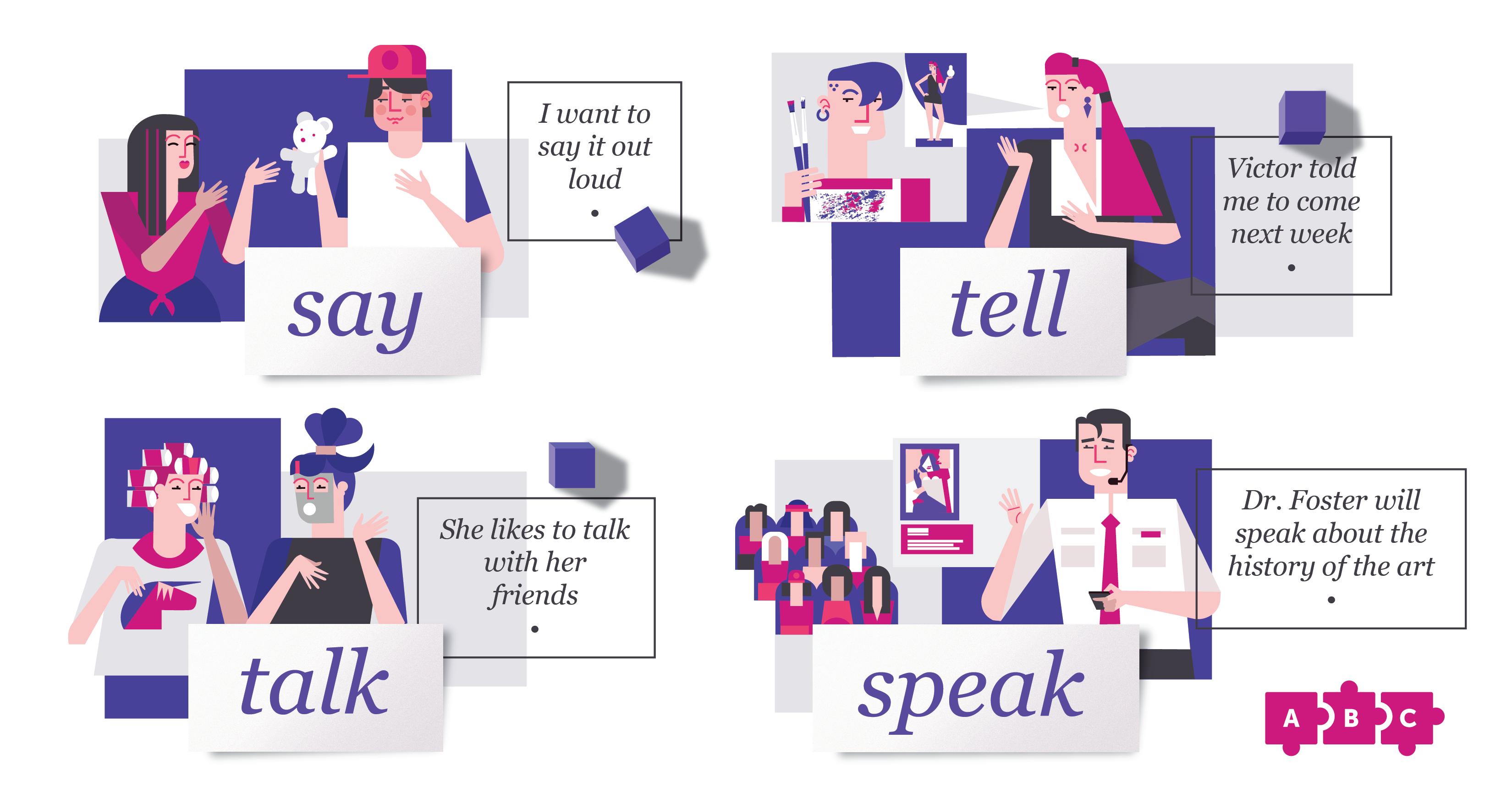 Синонимы, которые сбивают с толку новичков: say, tell, speak, talk