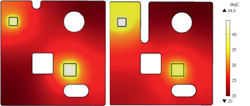Распределение температуры в графитовом рассеивателе для двух разных вариантов топологии пленки. Изображение предоставлено GrafTech International