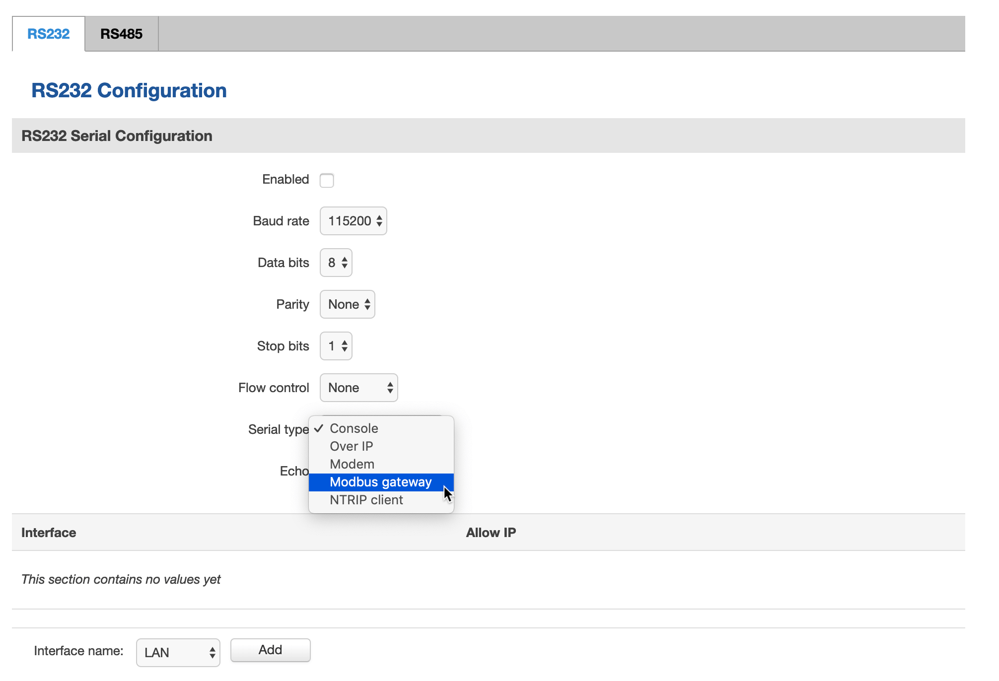Выбор режима работы serial-портов в роутере Termit CR41P