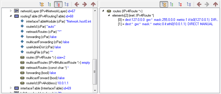FlatNetworkConfigurator: qtenv host0 children grouped routingTable