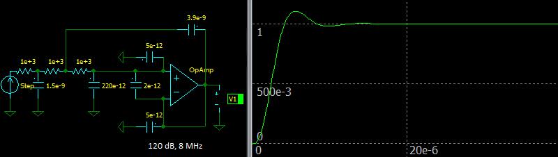 Third Order Sallen-Key Butterworth Low-pass Filter, Step response