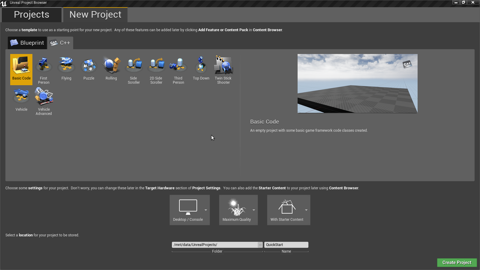Unreal Engine: QuickStart in Qt Creator under Arch Linux