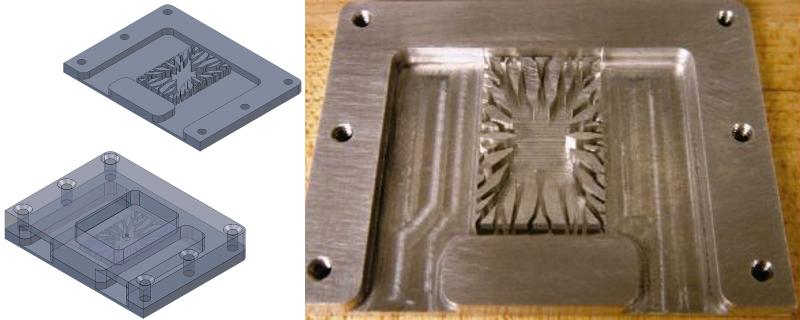CAD-модель и прототип радиатора с микроканалами, изготовленный из алюминия