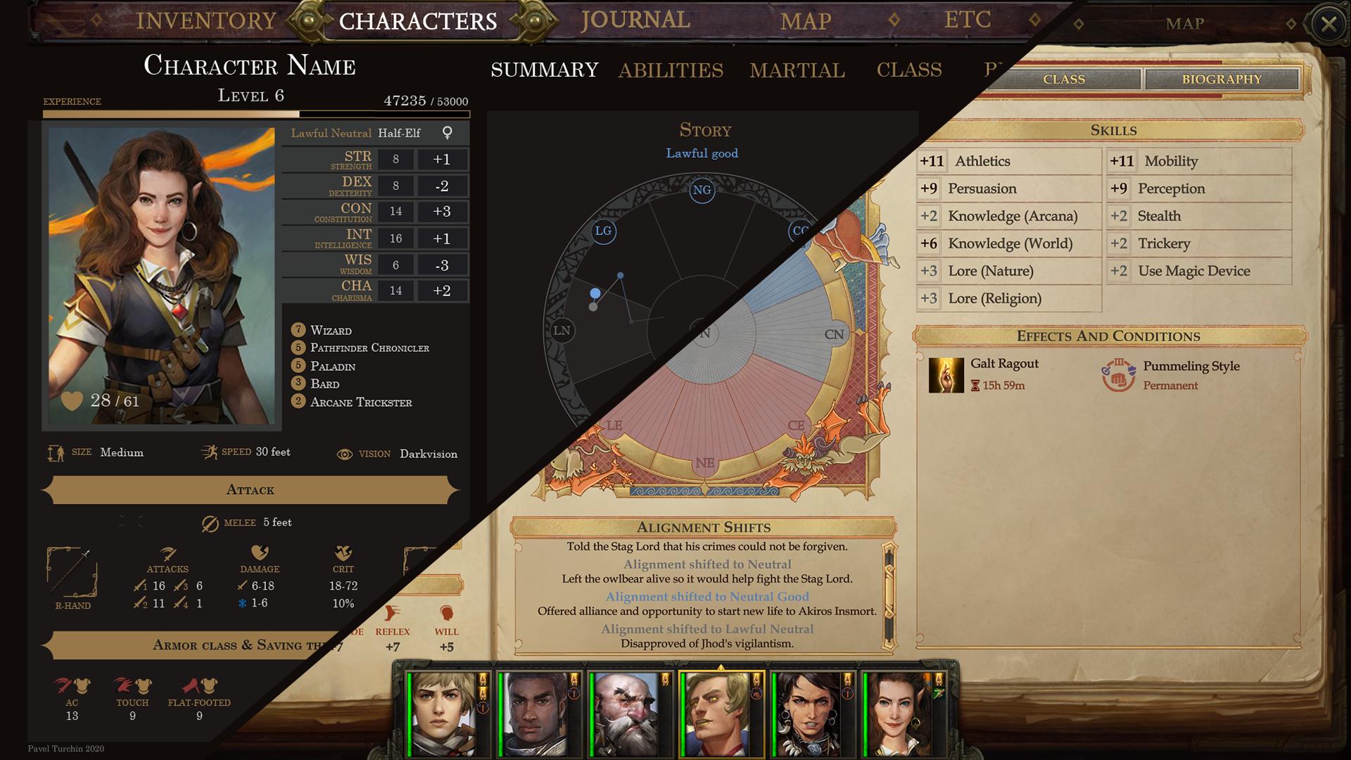 Из песочницы Ретроспектива разработки интерфейса листа персонажа