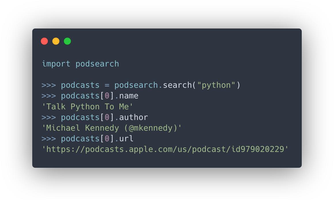 Пакет podsearch для поиска подкастов