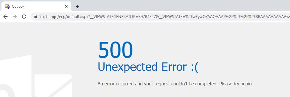 Server response when CVE-2020-0688 is exploited