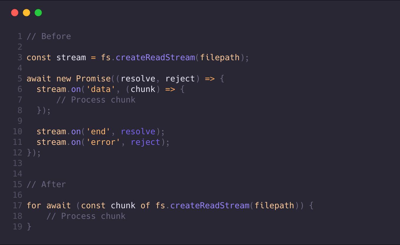 Асинхронные циклы и Stream API в Node.js 10