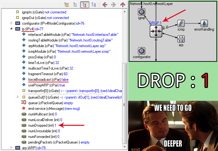 qtenv: in host0 – in networkLayer – ip drop forceBroadcast – broadcast 255.255.255.255