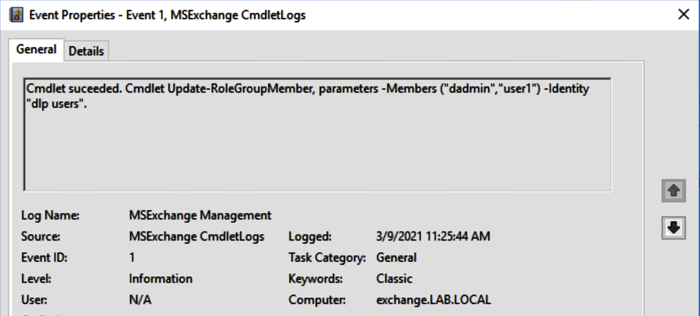 Adding user dadmin to group dlp users (MSExchange Management log)