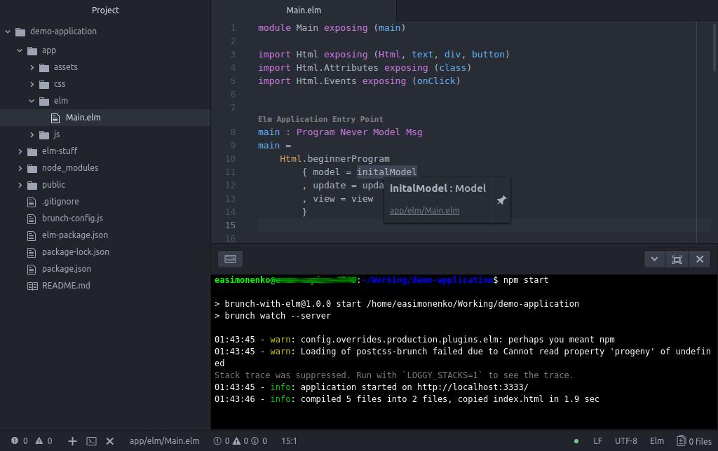 Код на Elm в Atom с запущенным слежением в терминале
