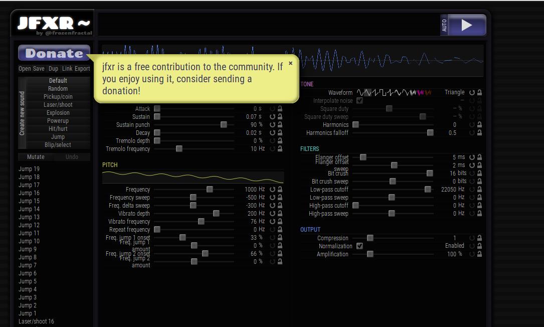 Jfxr web interface