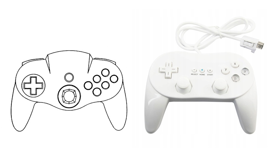 Запатентованные изображения контроллера допускали вариабельность итогового дизайна. Как видно из сравнения, идею геймпада развили не только в GameCube, но и Wii