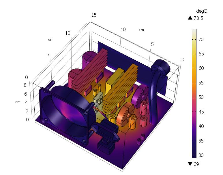 Распределение температуры на поверхности компонентов блока питания компьютера. Визуализация результатов расчета в COMSOL Multiphysics<sup>®</sup>