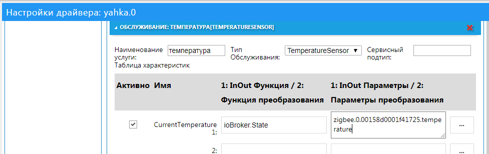 Сервис TemperatureSensor