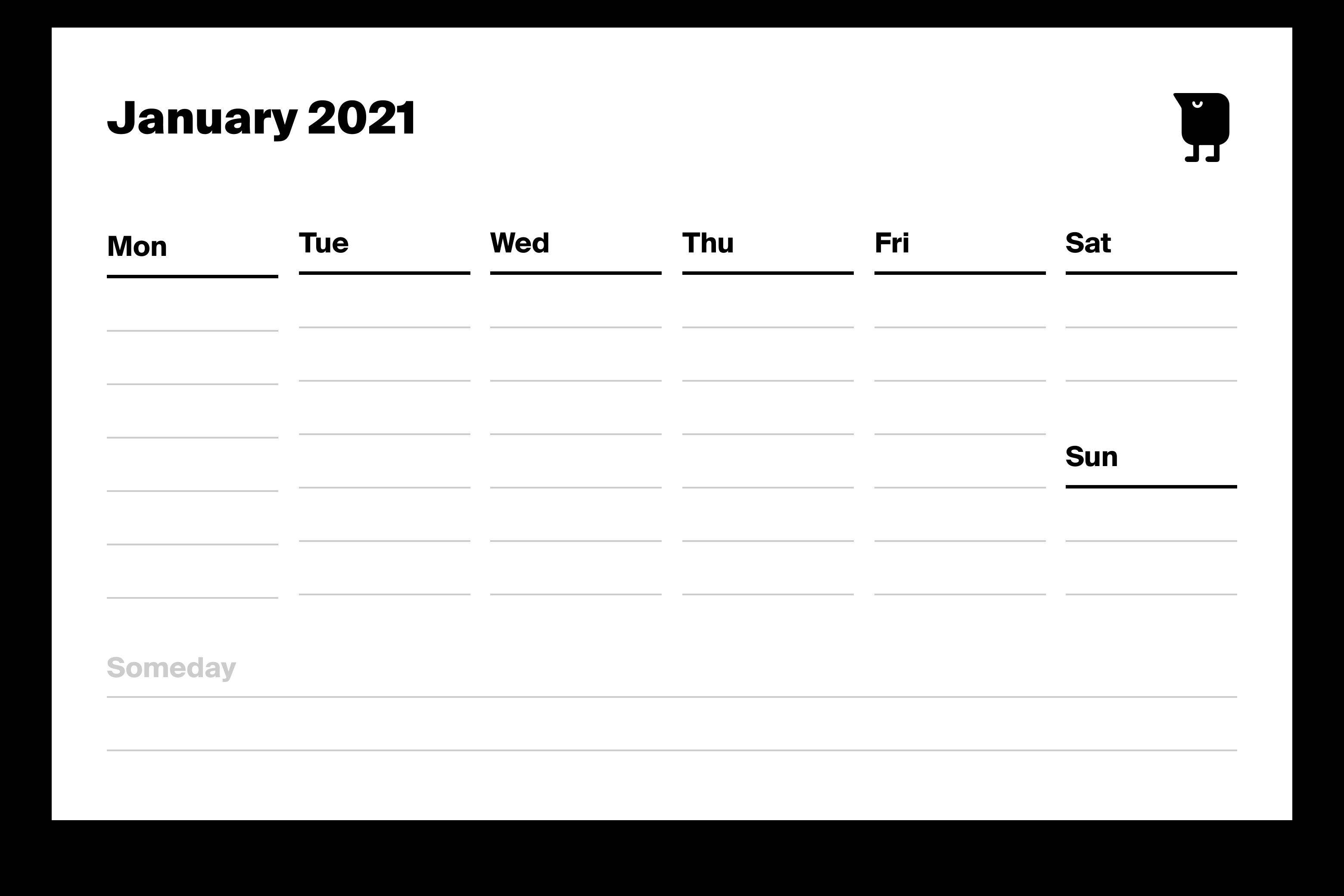 Перевод Идеальная версия недельной сетки календаря для печати