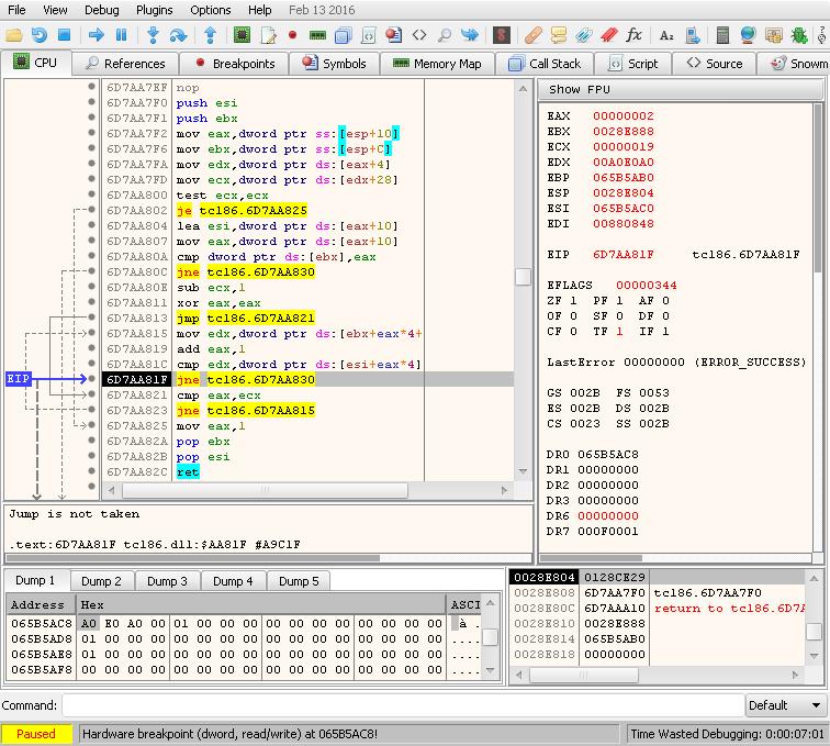 cpu – hardware breakpoint 0x065B5AC8