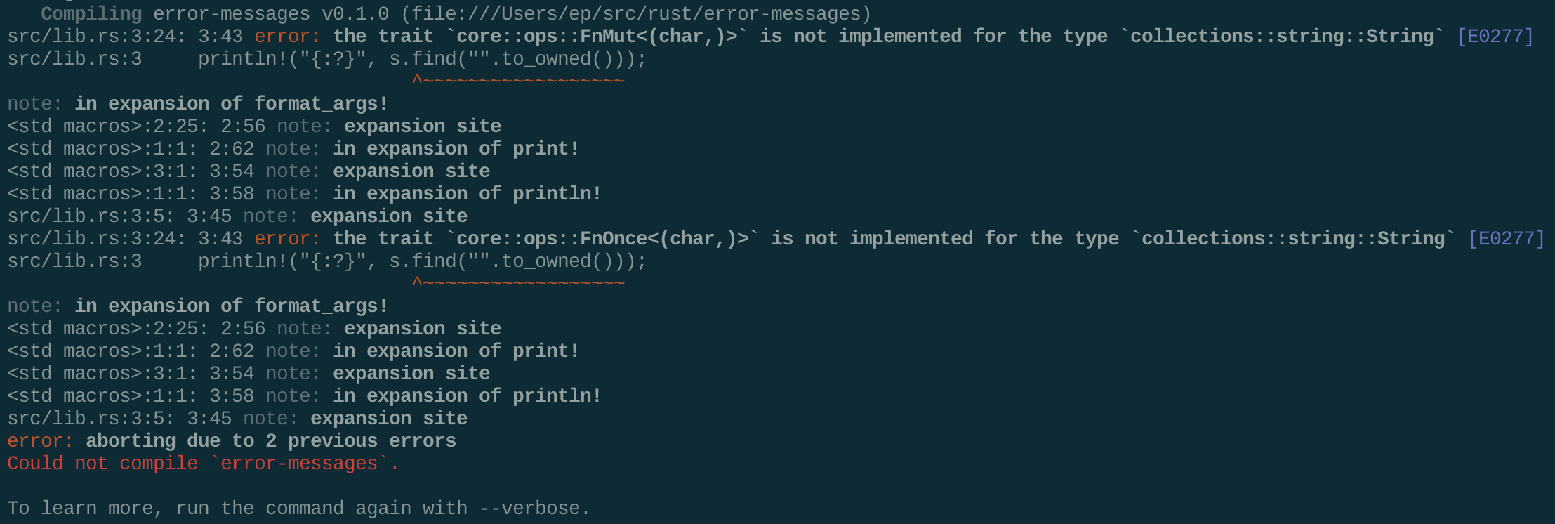 A terminal screenshot of the 1.2.0 error message.