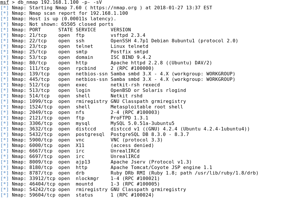 Тест на проникновение с помощью metasploit framework базовое  После завершения сканирования сети имеет смысл выгрузить данные из базы metasploit с помощью команды db export и импортировать получившийся xml файл в ms