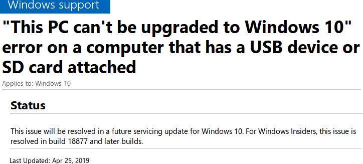 Обновление «Windows 10 May 2019 Update» не будет устанавливаться при … подк ...