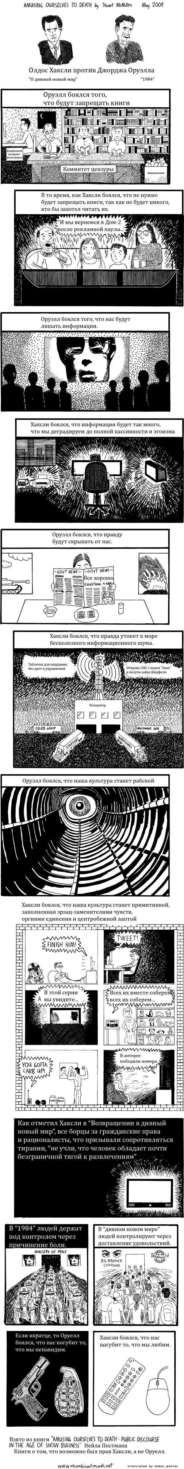комикс Хаксли vs Оруэлл