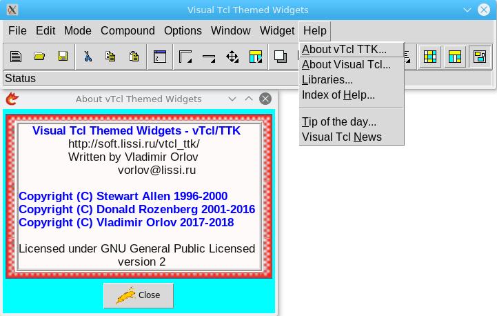 Конструктор GUI Visual Tcl с поддержкой тематических виджетов