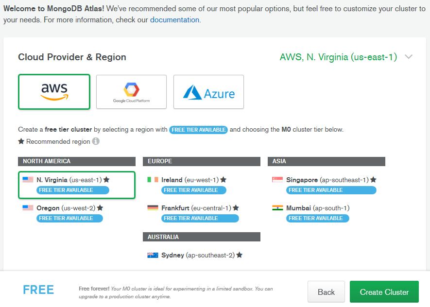 Выбор региона и провайдера в MondoDB Atlas