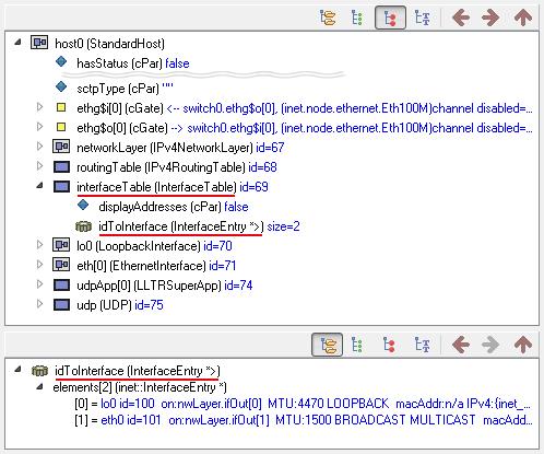 qtenv: host0 interfaceTable