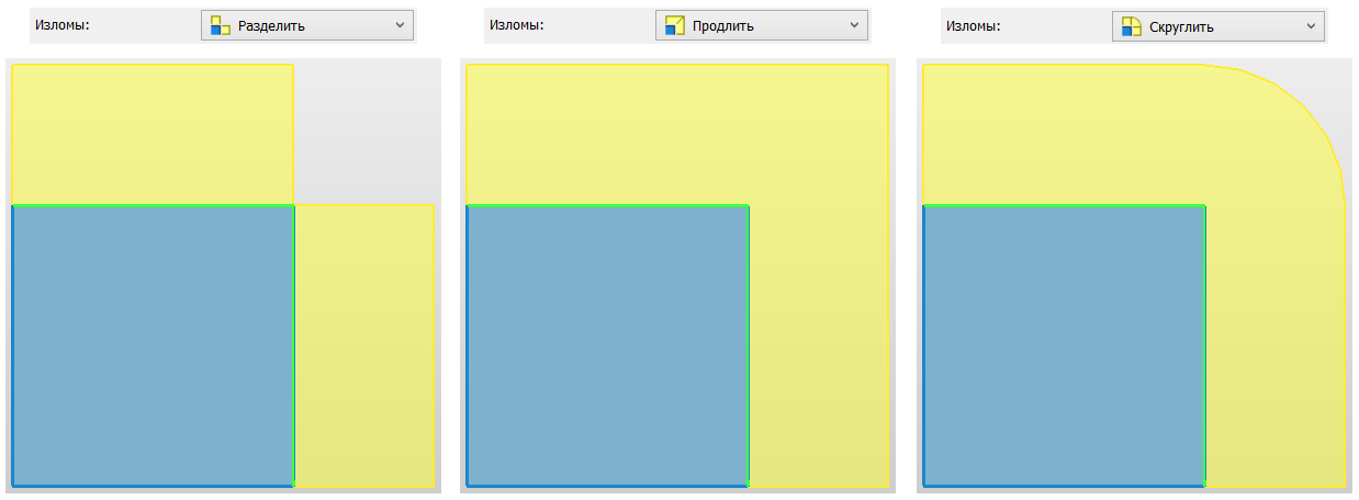 Рисунок 11. Три типа обработки изломов для поверхностей