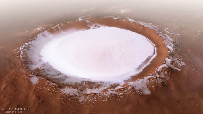 Christmas card from Mars. The ESA showed a large accumulation of ice on the surface of the red planet