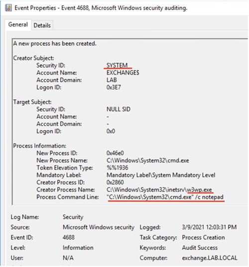 Process start event (Security log)