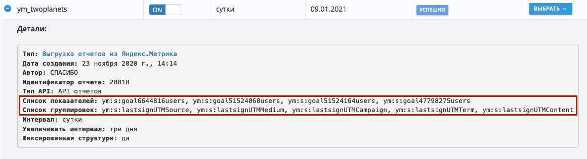 Пользовательская выгрузка из Яндекс.Метрика