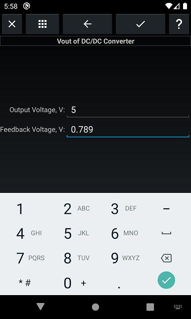 Vout, input parameters