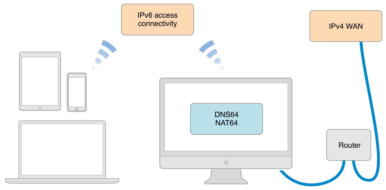 Предлагаемая схема от Apple. Наш демонстрационный сервер находится до роутера, в IPv4+IPv6 локальной сети.