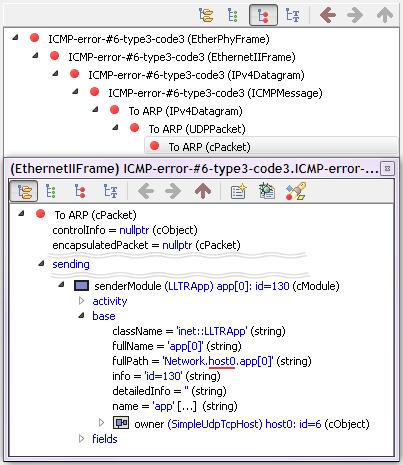 qtenv: inspector – icmp error port unreachable – to arp pkt