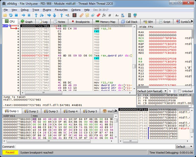 File=>Open» /></div>  <p><br /> Переходим на&nbsp;вкладку Symbols и&nbsp;слева в&nbsp;списке модулей выбираем unity.exe: </p>  <div><img src=