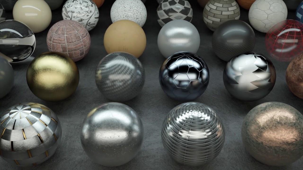 различные материалы, отрисованные физически-корректным рендерингом