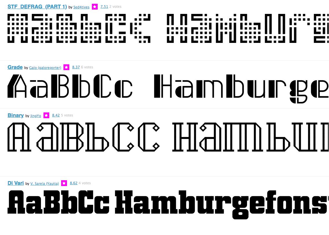 Предварительный просмотр шрифтов в галерее FontStruct