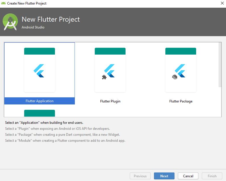 Выбор типа проекта Flutter в Android Studio