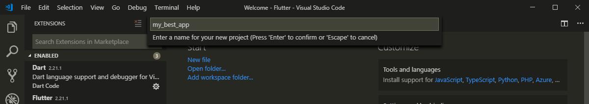 Название проекта Flutter в VS Code