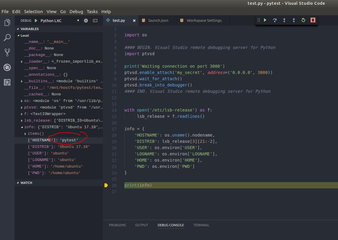 Запуск/отладка Python скриптов в контейнерах LXC/LXD из под VS Code